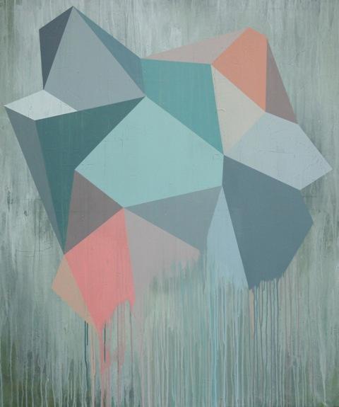 Geometrisk abstrakt maleri af Henriette Fabricius. Geometric abstraction by Henriette Fabricius Canvas 130 x 110 cm