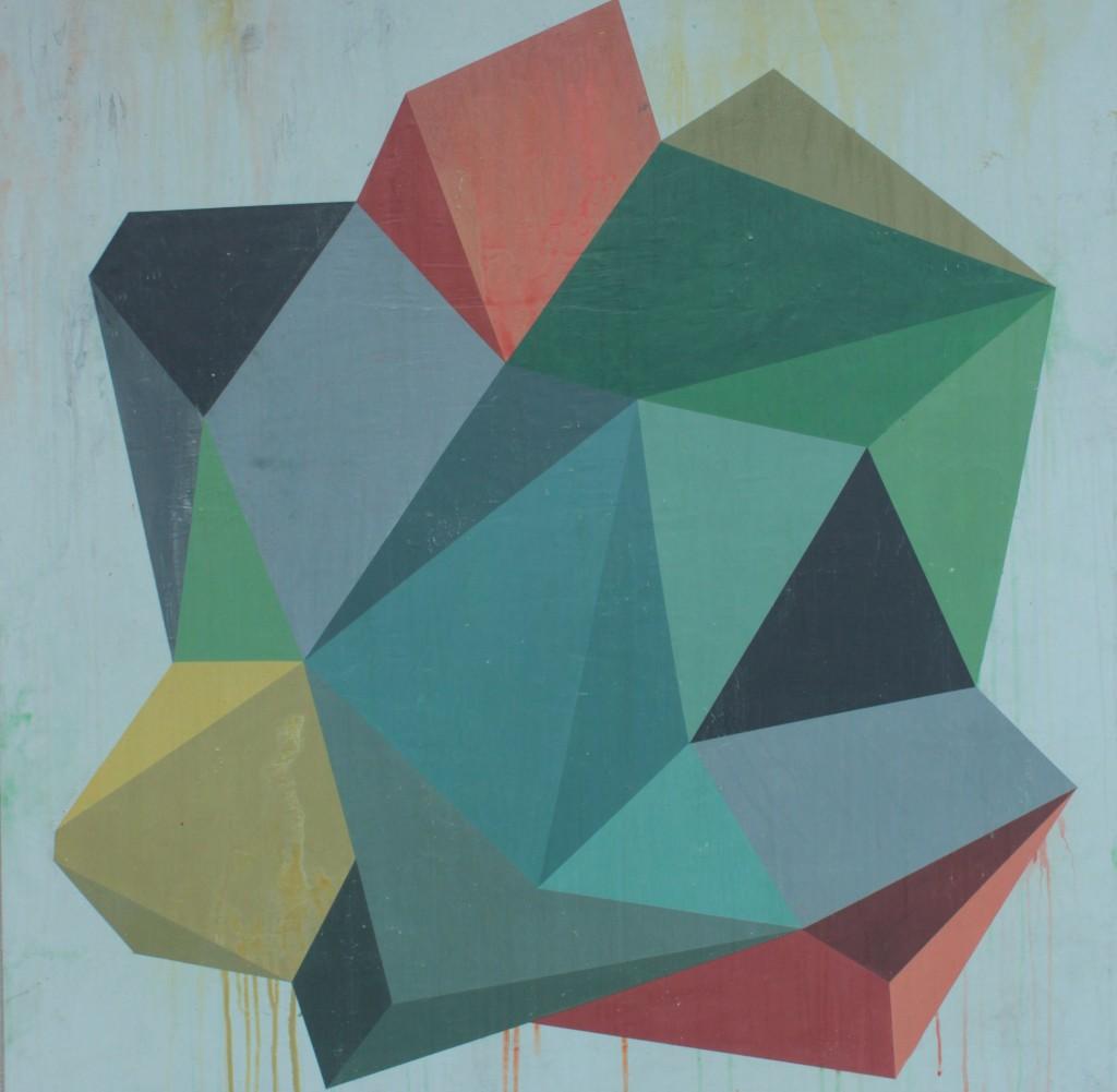 Geometrisk abstrakt maleri af Henriette Fabricius. Geometric abstraction by Henriette Fabricius Canvas 100 x 100 cm