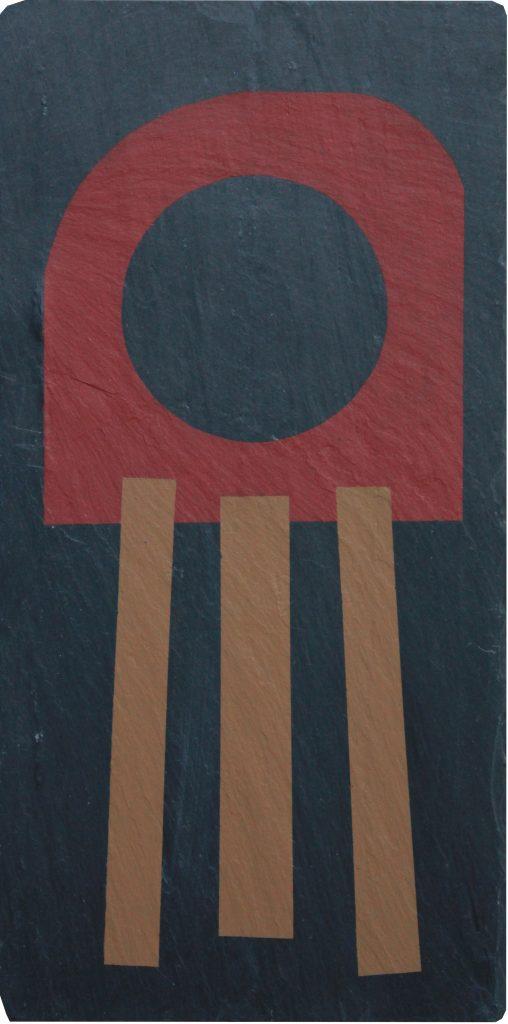 Geometrisk abstrakt maleri på skifer af Henriette Fabricius Geometric abstract painting on slate by Henriette Fabricius