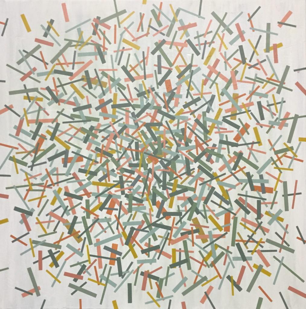 Geometrisk abstrakt maleri af Henriette Fabricius. Geometric abstraction by Henriette Fabricius Canvas 80 x 80 cm