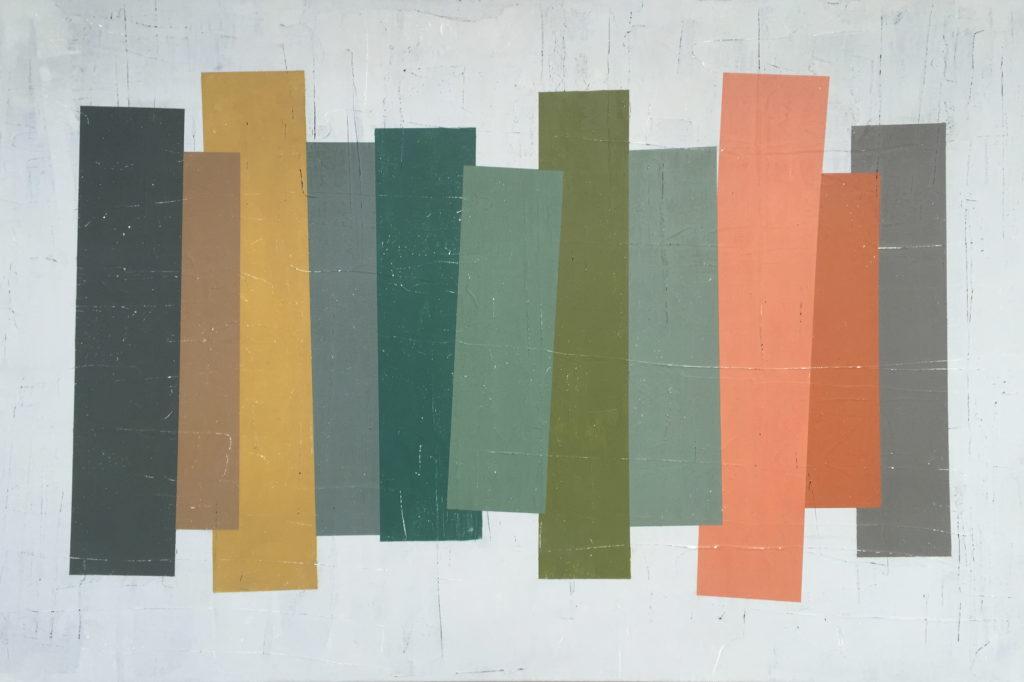 Geometrisk abstrakt maleri af Henriette Fabricius. Geometric abstraction by Henriette Fabricius Canvas 80 x 140 cm