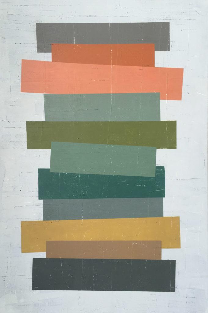 Geometrisk abstrakt maleri af Henriette Fabricius. Geometric abstraction by Henriette Fabricius Canvas 140 x 80 cm