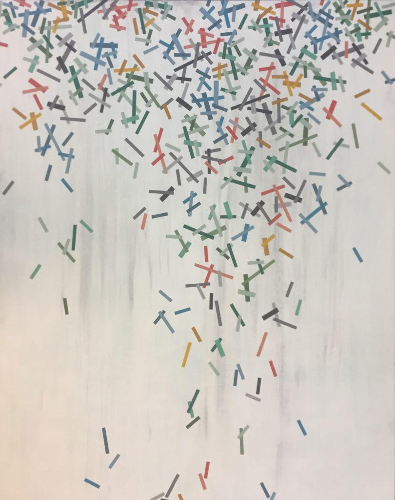 Geometrisk abstrakt maleri af Henriette Fabricius. Geometric abstraction by Henriette Fabricius Canvas 150 x 120 cm