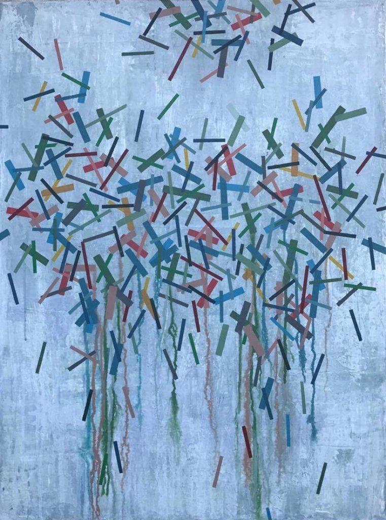 Geometrisk abstrakt maleri af Henriette Fabricius. Geometric abstraction by Henriette Fabricius Canvas 80 x 60 cm