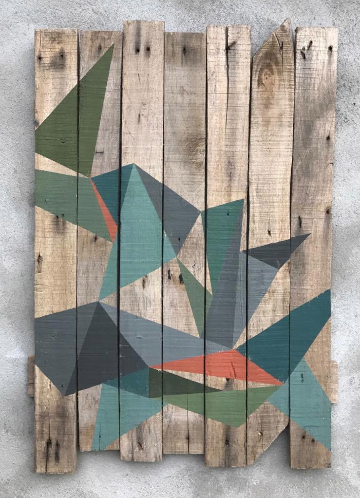 Geometric abstraction on wood by Henriette Fabricius