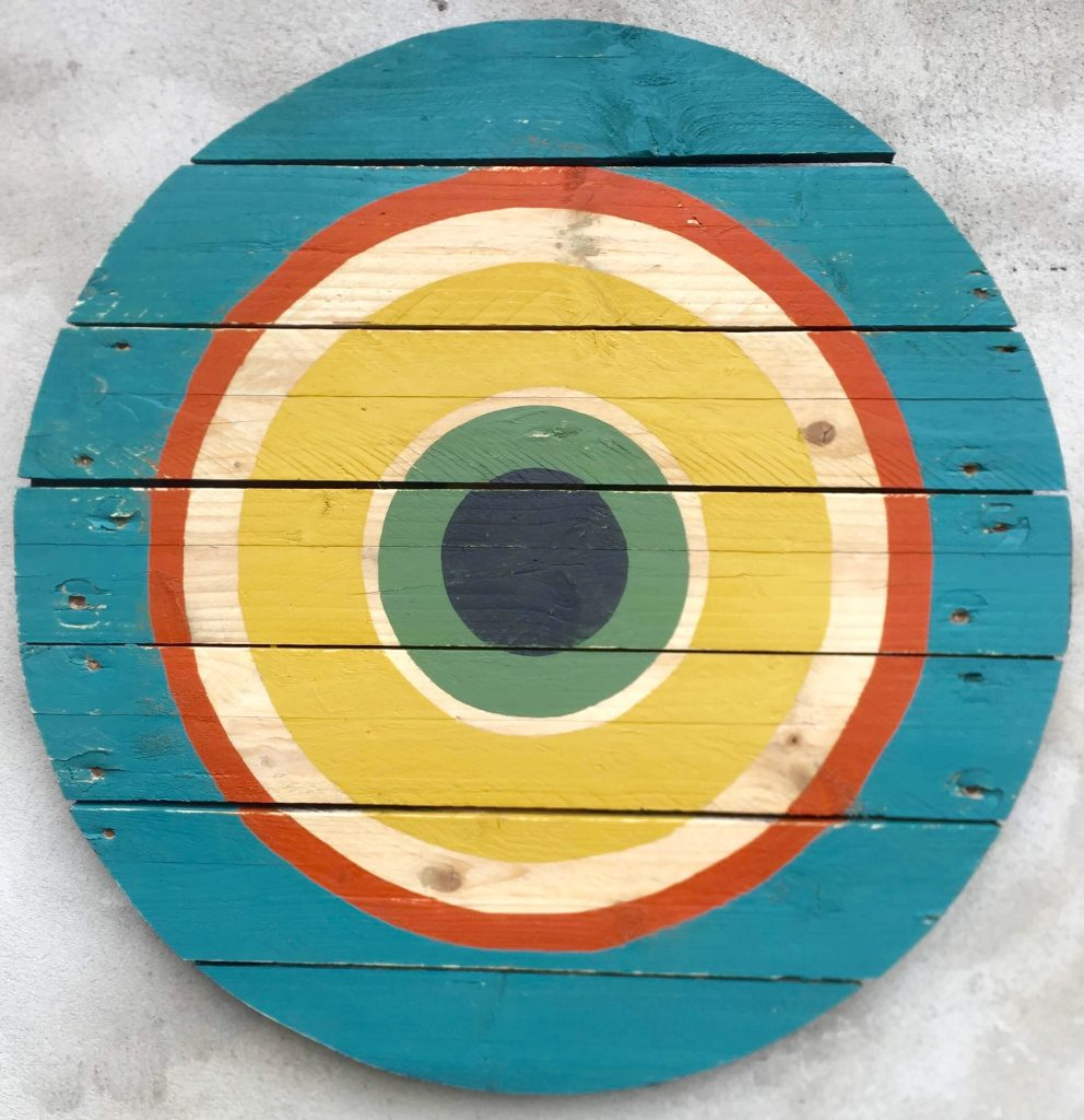 Target on wood. geometric abstract painting on wood by Henriette Fabricius