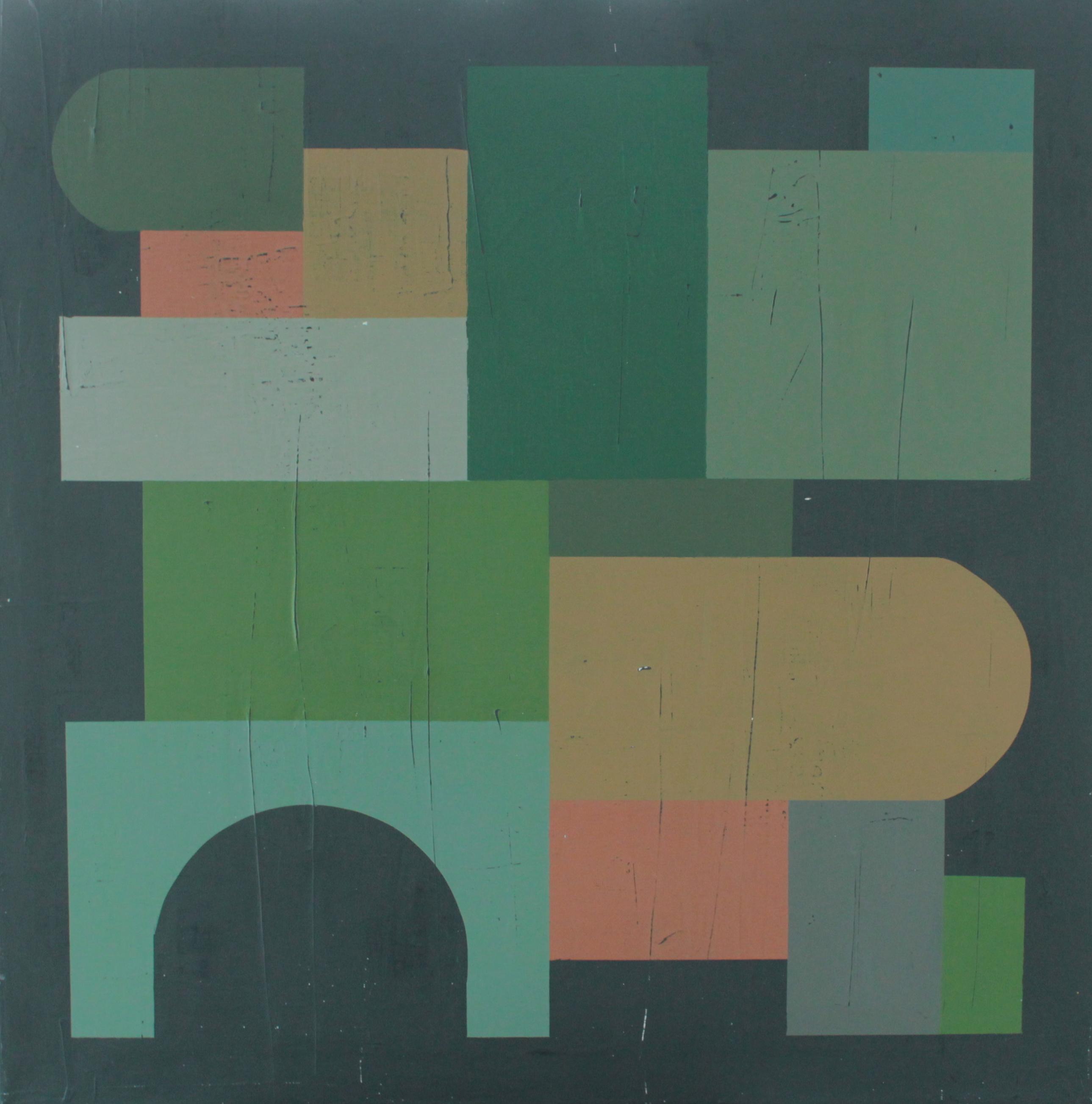 Geometrisk abstrakt maleri af Henriette Fabricius. Geometric abstraction by Henriette Fabricius Canvas 70 x 70 cm