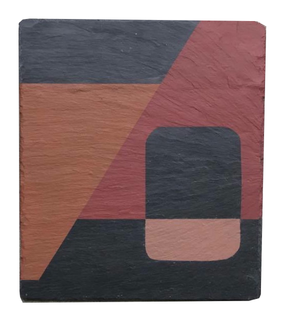 Geometrisk abstrakt maleri på skifer af Henriette Fabricius Geometric abstract painting on slate by Henriette Fabricius
