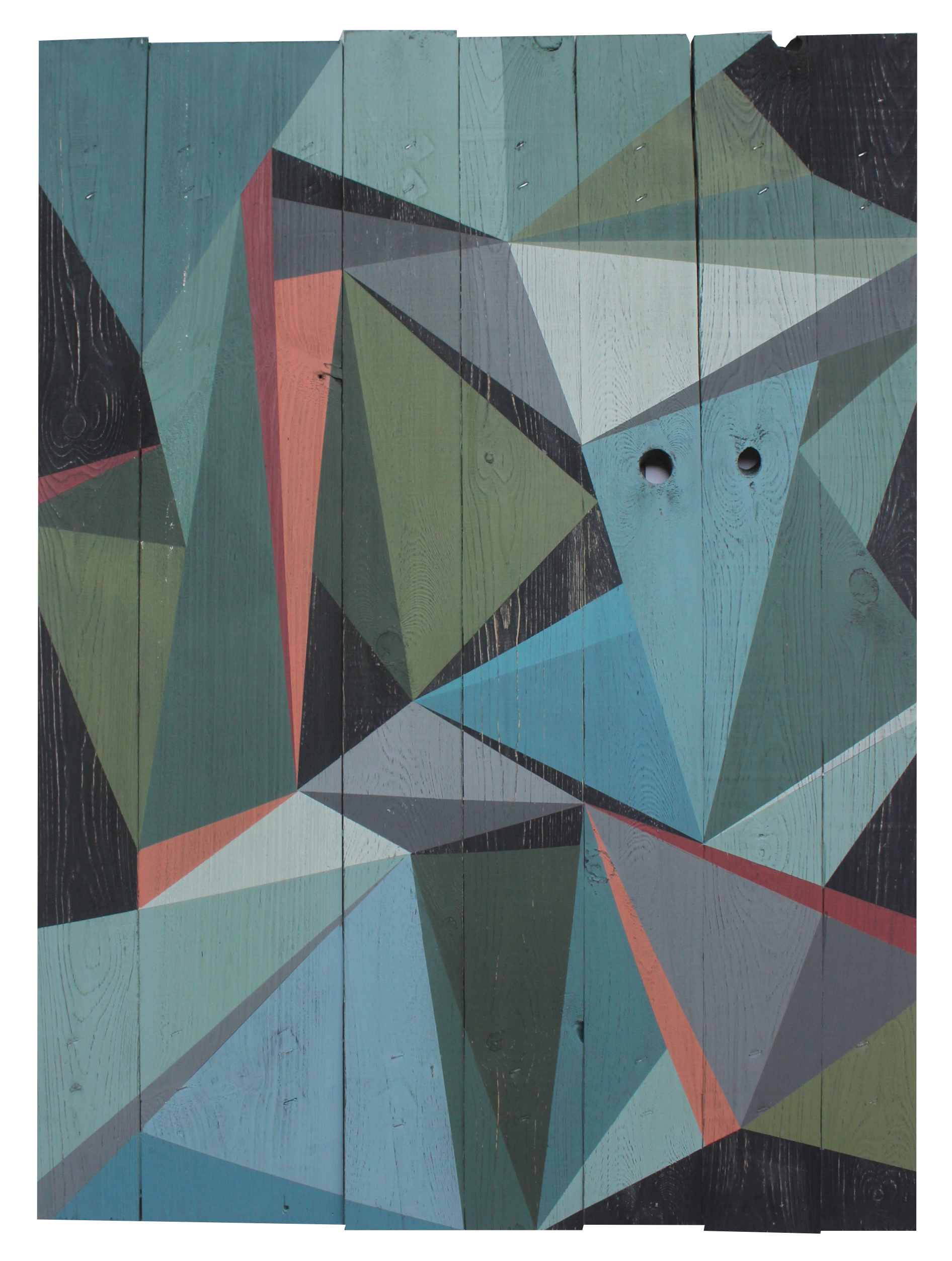 Colourlove. Geometric art on recyled wood. Acrylic on wood. By Henriette Fabricius