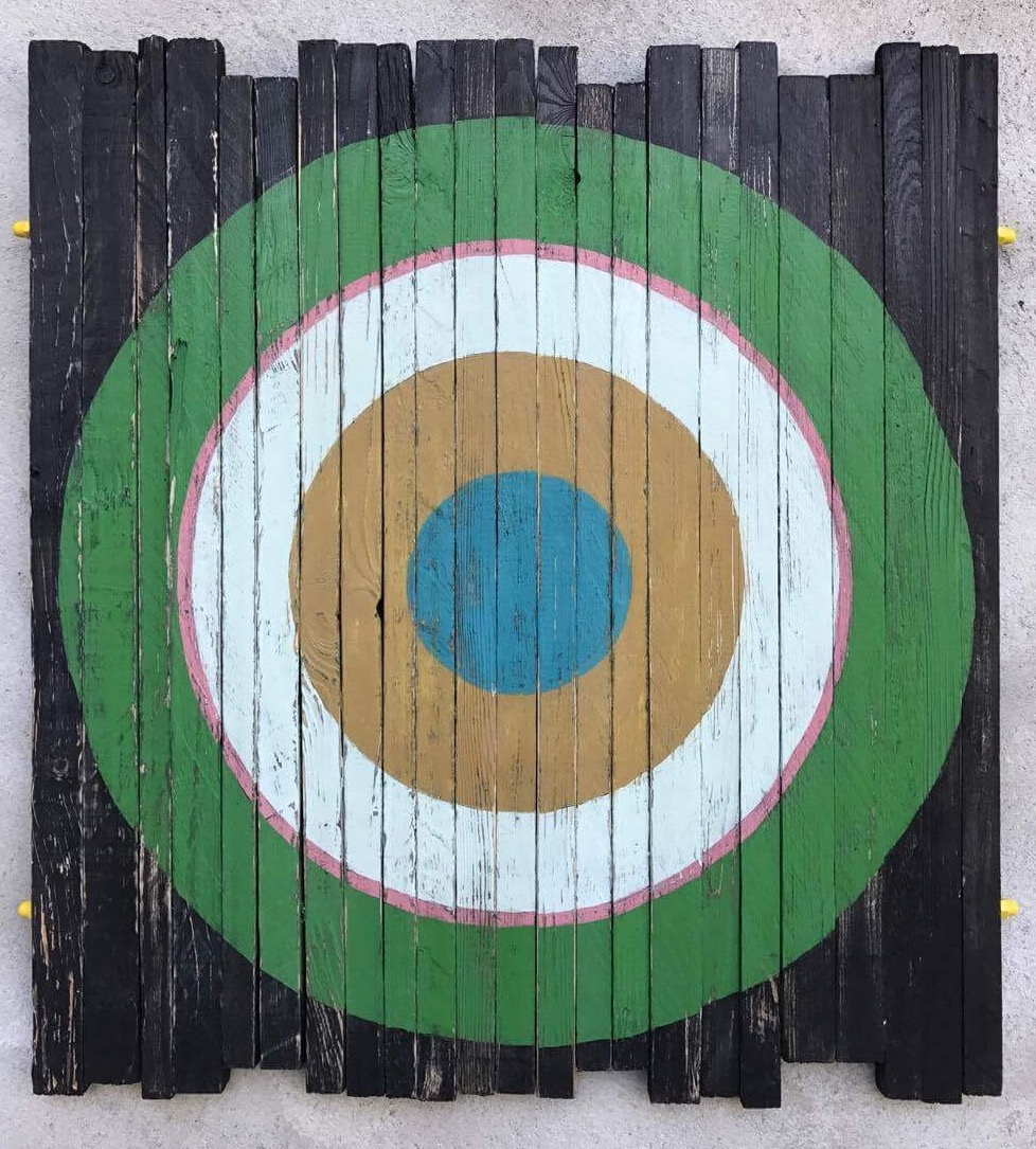 Life Target. Geometric art on recyled wood. Acrylic on wood. By Henriette Fabricius