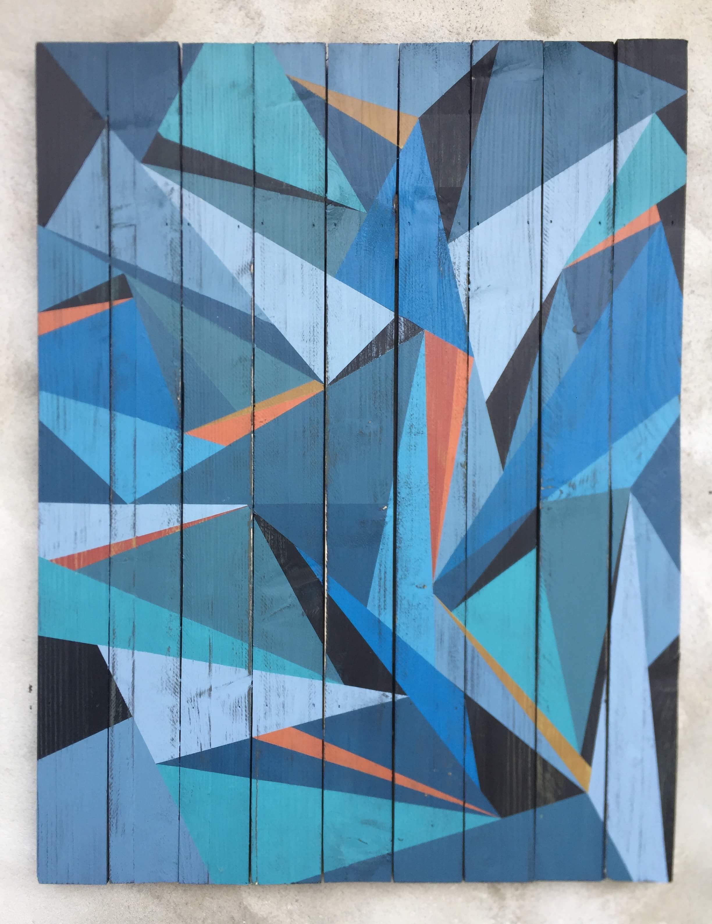 Geometric art on recyled wood. Acrylic on wood. By Henriette Fabricius