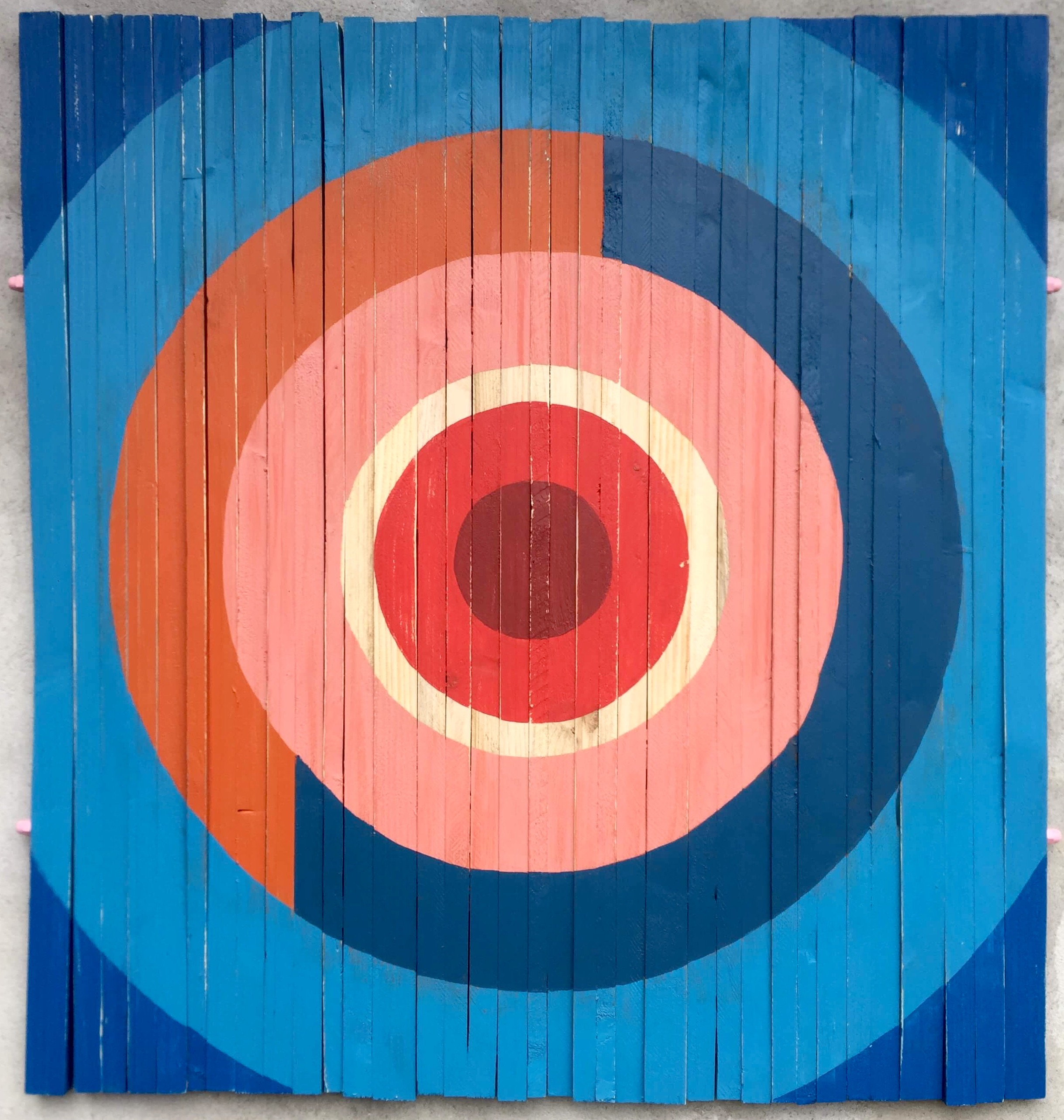 Colour Target. Geometric abstract painting on wood by Henriette Fabricius